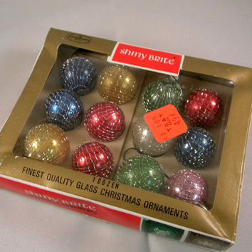 Shiney Brite gold net ornaments in original box set of 12 miniature balls scarce find