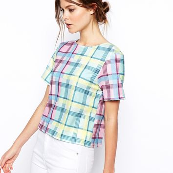 ASOS Top in Texture with Check Pastel - Multi