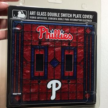 BRAND NEW ART-GLASS PHILADELPHIA PHLLIES DOUBLE LIGHT SWITCH COVER SHIPPING