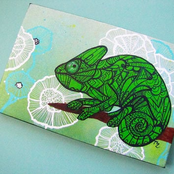 Chameleon Art Giclee - Wrapped Canvas Print of Original Acrylic Painting