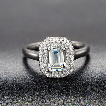 1.45ctw Emerald Cut Aquamarine Engagement ring,0.26ct VS Diamond wedding band,14K Gold,Blue Gemstone Promise Bridal Ring,Double Halo Pave