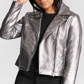 Metallic Zip-Front Moto Jacket