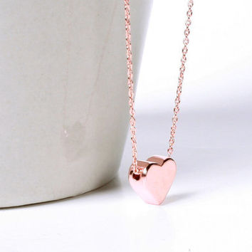 Rose Gold Heart Necklace, Tiny Rose Gold Heart Necklace, Minimalist, Wedding, Bridesmaids