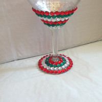 Christmas Themed Martini Glass