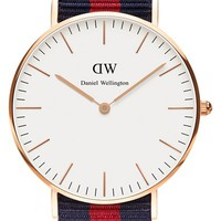 Daniel Wellington 'Classic Oxford' NATO Strap Watch, 36mm - Blue/ Red