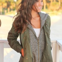 Olive Utility Jacket with Gray Hood