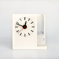 Retro White Table Clock Paper Holder / Vintage Desk Accessory / White Desk Clock / 80's Desk Clock