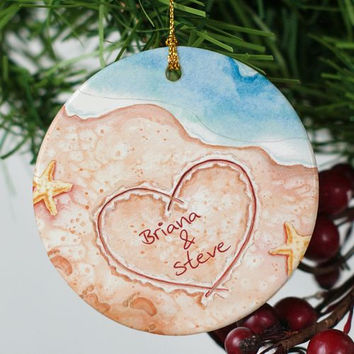 Couples Beach Christmas Ornament