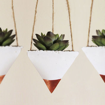 Succulent Planter, Concrete Planter, Hanging Planter, Air Plant Holder, Modern Planter, Geometric Planter, Succulent Pot, Bronze - Set of 3