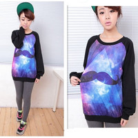 Fashionable Designer Casual Womens Galaxy Mustache Space Graphic Print Loose T-shirts Long Sleeve Tops Oversized Tee Blouse = 1696985156