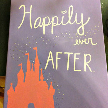 Disney Castle Happily Ever After quote on canvas