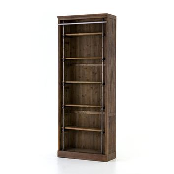 ROYCE BOOKCASE-BROWN UMBER PINE WITHOUT LADDER