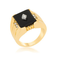 Black Onyx Men's Ring, size : 10