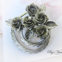 Vintage Silver Tone Coro Rose Brooch / Pin, Flower Bouquet Wreath Pin