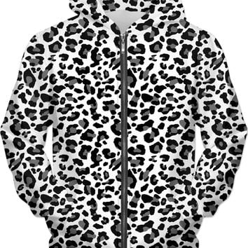 White leopard pattern hoodie, custom vector theme, hooded sweatshirt