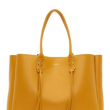 Lanvin Golden Yellow Calf Leather Fringed Shopper Bag