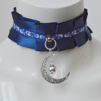 Kittenplay collar - Moonlight sonata - kitten pet play wiccan wicca witch lolita dark blue choker gothic goth lolita costume necklace