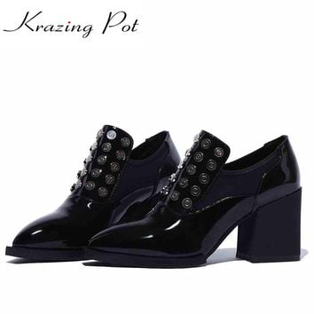 2017 shoes women rivets metal solid color decoration high heels pointed toe genuine patent leather handmade slip on shoes L96
