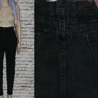 90s High Waist Mom Jeans Tapered Distressed Skinny Black Grunge Hipster Pastel Goth Festival Punk Gothic Lee Denim 12 14 32  Boho Plus Size