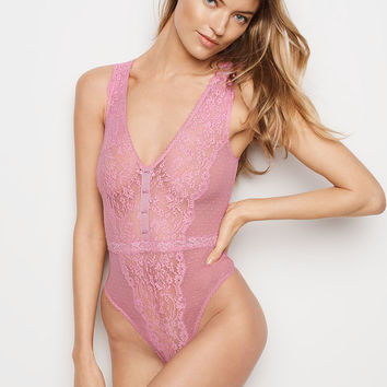 Floral Lace & Dot Mesh Plunge Teddy - Dream Angels - Victoria's Secret