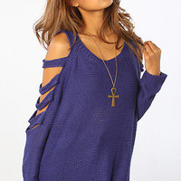 The Cut Out Sleeve Sweater in Navy
