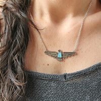 THUNDERBIRD Eagle spirit bird-silver tone Native necklace Bohemian Tribal Southwestern Free people style Layering necklace