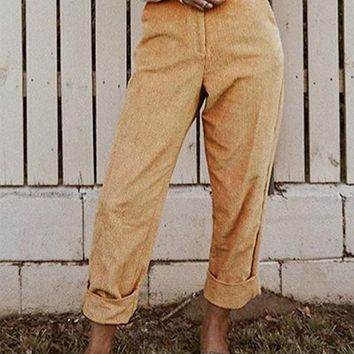 New Yellow Corduroy Pockets Buttons High Waisted Casual Pant