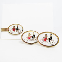 Vintage Cuff Link and Tie Clip Set: Bicycle Built for Two