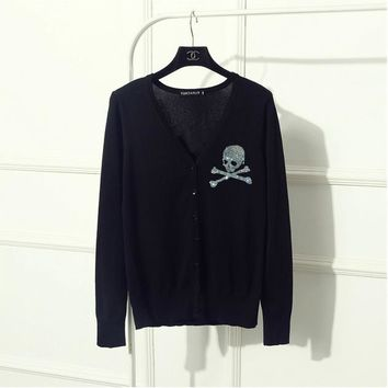 Brand Diamonds Gun Skull Women knitted Cardigans long sleeve single breasted women sweater plus size female outwear Girls - skull 3, XL