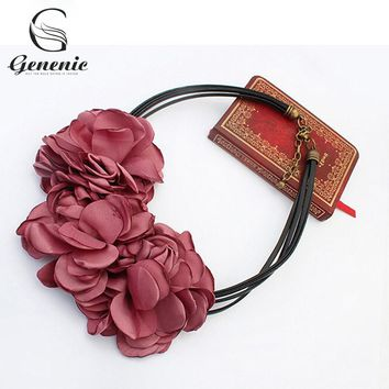 1 Piece New Cute Fashion Bohemian Fabric Rose Flower Choker Necklace Women Statement Necklace Vintage Nice Gift