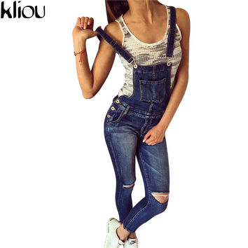 Kliou 2017 Women Ripped Denim Jumpsuits Casual Sexy Stretch Romper Plus Size Ladies'Denim Pencil Overalls For 4 season