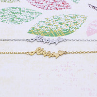 Happy  lettering bracelet  in  silver or gold tone