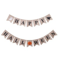 Halloween Witch Party Props Pumpkin Swallowtail Custom Made Pull Linen Flags Decoration Party Favors Hanging Flag Banner Decor