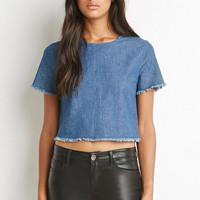 Frayed Denim Crop Top