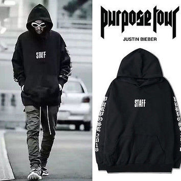 fashion man clothing Hoddy Black 2016 JUSTIN BIEBER WESTERN STYLE FOR PURPOSE TOUR Rare SOLD OUT Hoodie