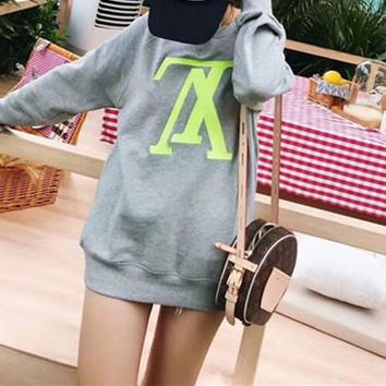 Louis Vuitton Letter All-match Women Simple Long Sleeve Cotton Sweater