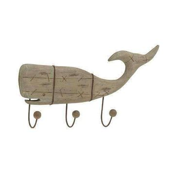 Natural Finish Wooden Whale Themed Wall Hook