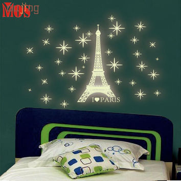 SP 6   2017 Hot Selling  A Set Kids Bedroom Fluorescent Glow In The Dark Stars Wall Stickers 421