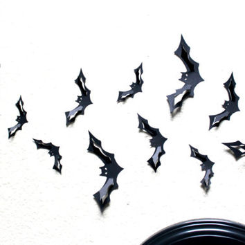 Halloween Decorations - Halloween Bats - 3d Bats for Halloween Party, Halloween wall decals, Bat Silhouette, Halloween wall decor, Wall arts