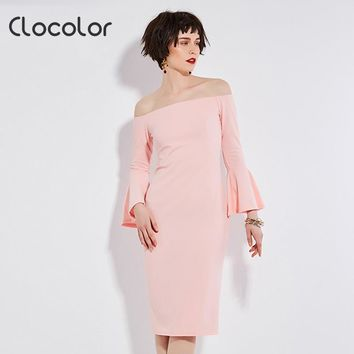 Clocolor Women Bodycon Dress Black Pink Flare Sleeve Autumn 2017 Women  Workwear Slash Neck Zipper Women Bodycon Dress