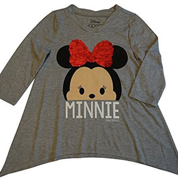 Disney Tsum Tsum Girls Minnie Mouse Sequin Bow Tee, Gray (MD 7/8)
