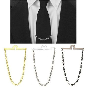 DCCK8JO Hot Men Tie Chain Tack Clip Locking Pin For Necktie Guard Clutch Back Secure Holder New Jewelry