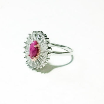 Pink Star Ruby Ring 925 Sterling Silver Ring White Topaz Ring 14kt Gold Ring Pink Ruby Ring Gemstone Ring Halo Ring Victorian Ring
