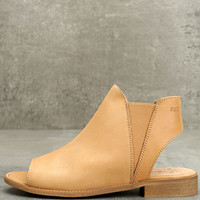 Musse & Cloud Ciara Tan Leather Peep-Toe Booties