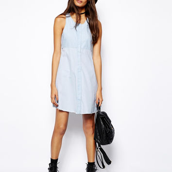 Asos Denim Dress In Bleach Blue Wash   Size 4, New