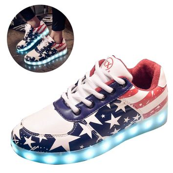 GAORUI Colorful luminous shoes unisex led glow men women fashion USB rechargeable light led shoes adults casual led shoes