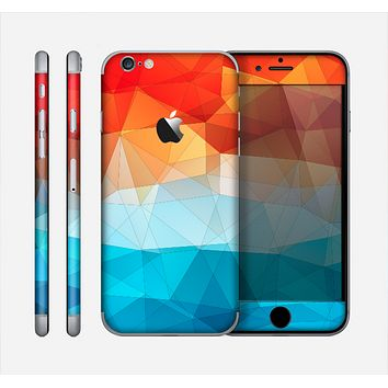 The Vector Abstract Shaped Blue-Orange Overlay Skin for the Apple iPhone 6