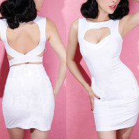 RETRO SEXY DEEP V LOW-CUT PACKAGE HIP DRESS