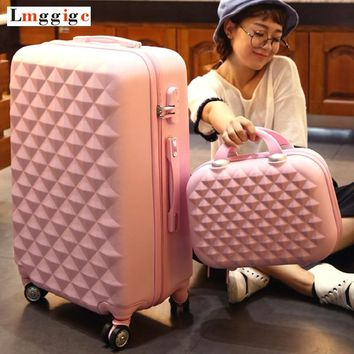 """ABS Hardside Rolling Luggage Set with Handbag,Women Travel Suitcase Bag with Cosmetic Bag,20""""22""""24""""26""""28""""inch Wheel Trolley Case"""