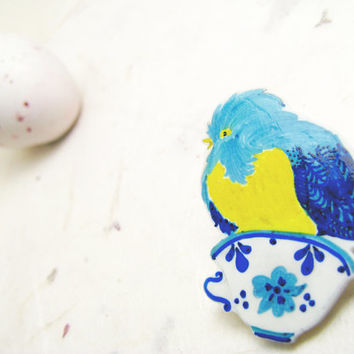 Blue bird tea cup shrinky plastic brooch porcelain cobalt neon yellow